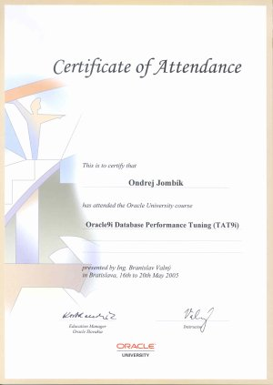 Oracle 9i: Database Performance Tuning - certificate